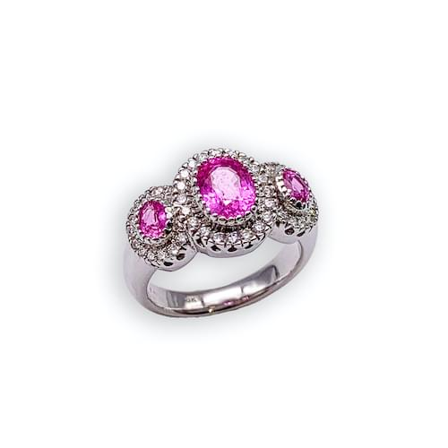 Jewelry store on Ocean Avenue. Pink Sapphire & Diamond 3 Stone Ring Carmel by the Sea. Custom jewelry and bespoke jewelry Monterey CA