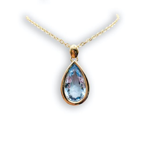 Jewelry store in Carmel CA. Aquamarine Large Pear Shape Pendant Carmel by the Sea. Fine jewelry and estate jewelry.