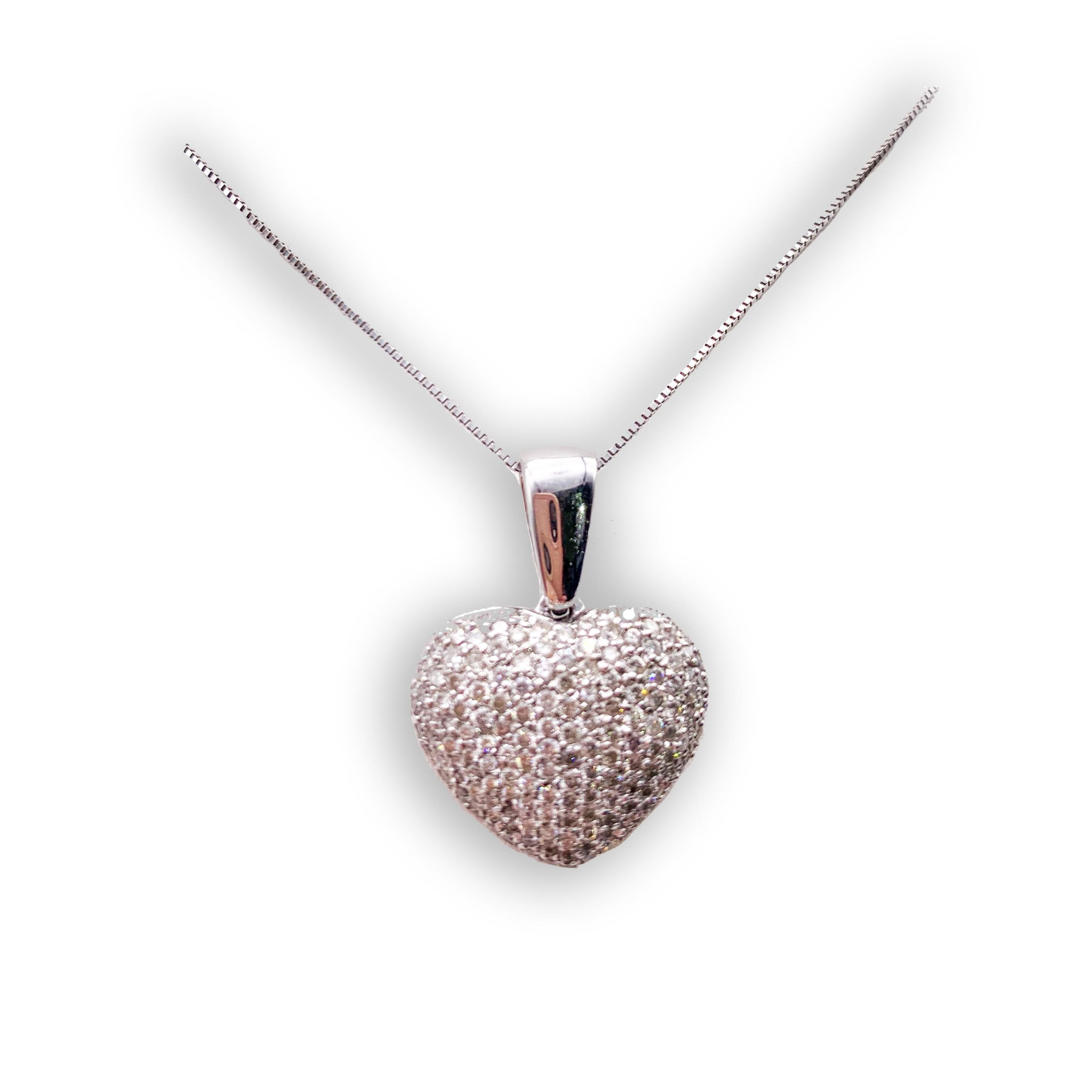 Jewelry store in Carmel CA. Diamond Pave Heart Pendant Carmel by the Sea. Fine jewelry and estate jewelry.