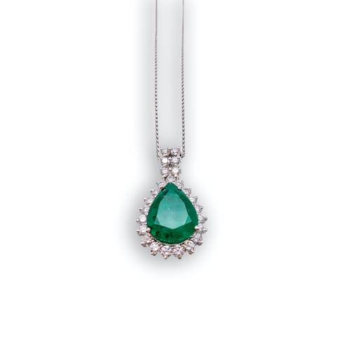 Jewelry store in Carmel CA. Emerald & Diamond Pendant Carmel by the Sea. Fine jewelry and estate jewelry.