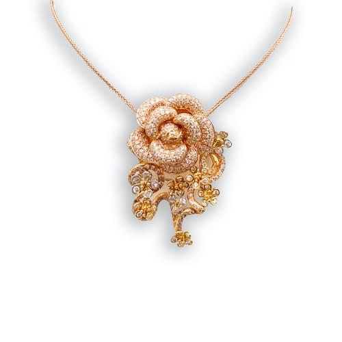Jewelry store in Carmel CA. Rose Diamond Pendant in Rose Gold Carmel by the Sea. Fine jewelry and estate jewelry.