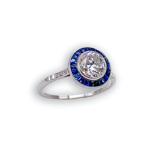 Jewelry store on Ocean Avenue. Vintage Diamond & Sapphire Solitaire Ring Carmel by the Sea. Custom jewelry and bespoke jewelry Monterey CA